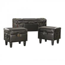 Sterling Industries 170-003/S3 - Dark Brown Faux Leather Travelers Trunk - Set of 3