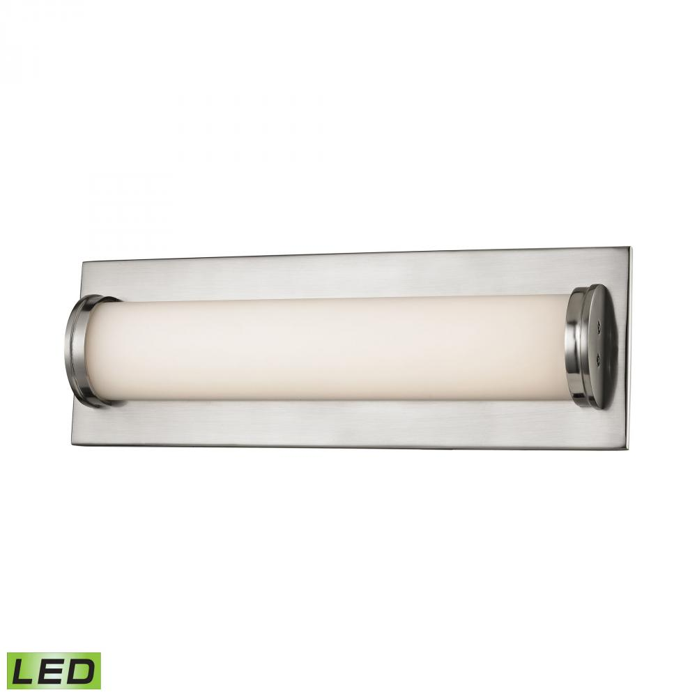 Barrie bath vanity 1 light led matte satin nickel finish